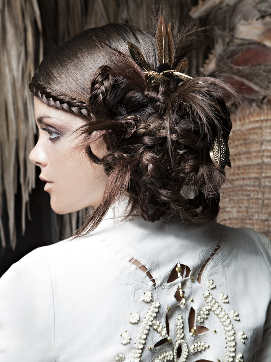 Updo That Combines Smooth Hair Braids And Feathers