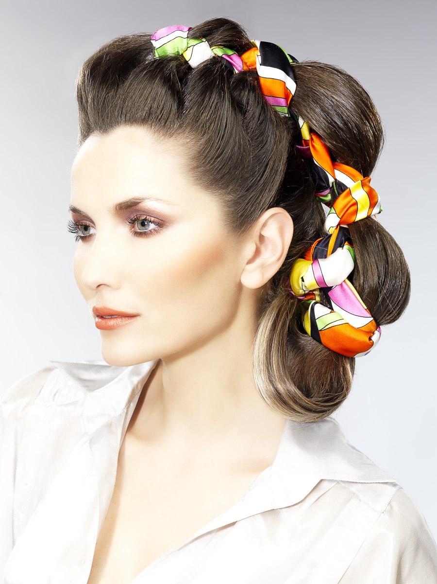 Hair braiding technique with a long silk scarf