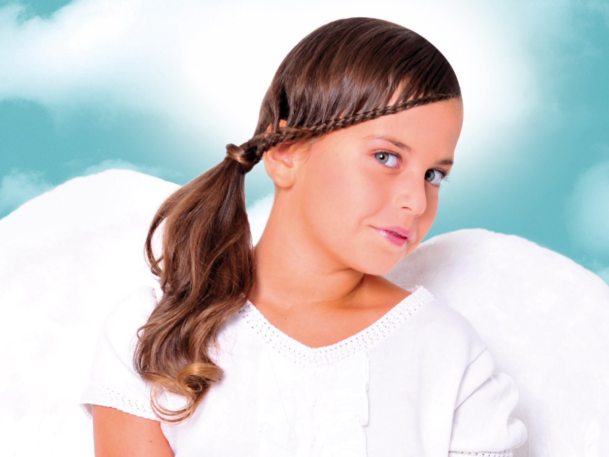 Little girls hairstyle with a braided edge and a side ponytail