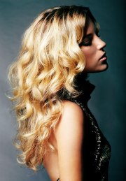 long golden blonde hair with large