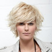 feathery short haircut with