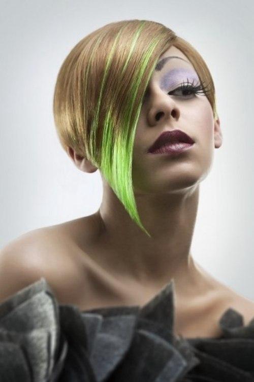 Short midear length hair with a green color flash