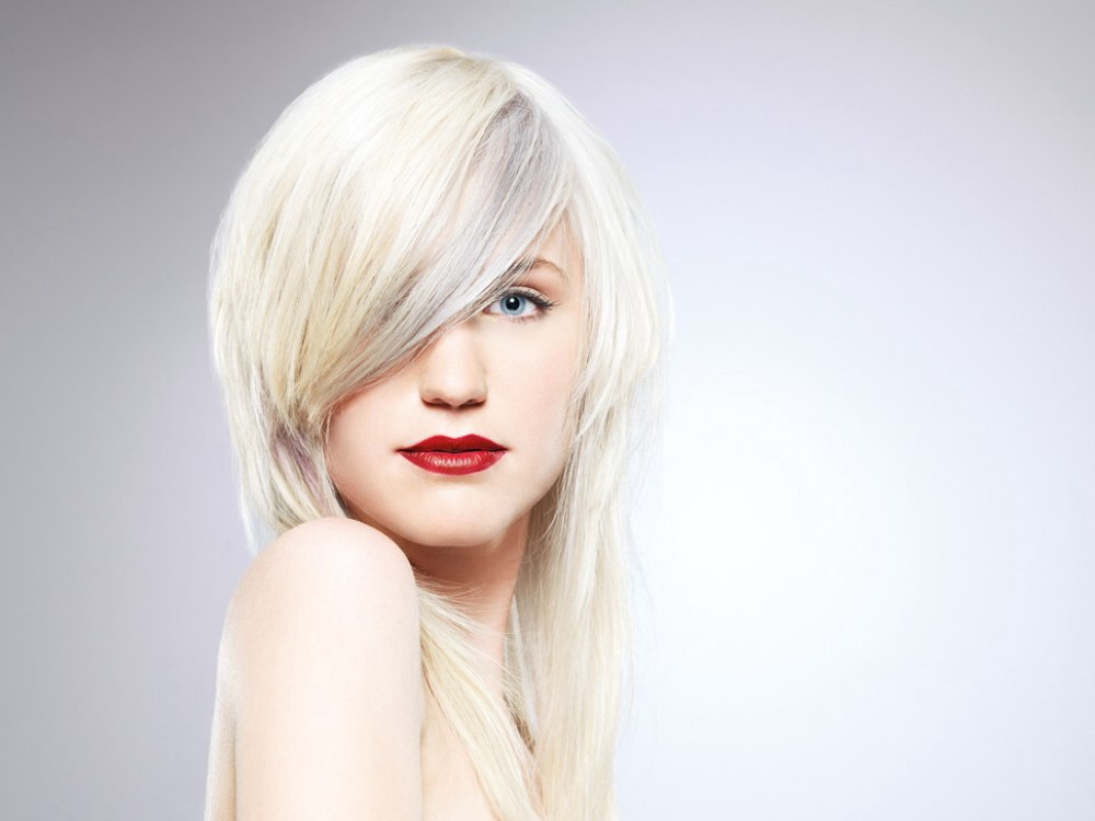 Long Sleek Tapered Hairstyle With Silver Gold And