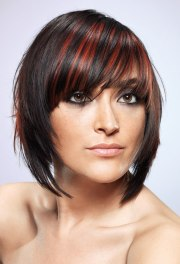 streaked bob hairstyle lightweight