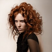 hairstyle with wild copper colored