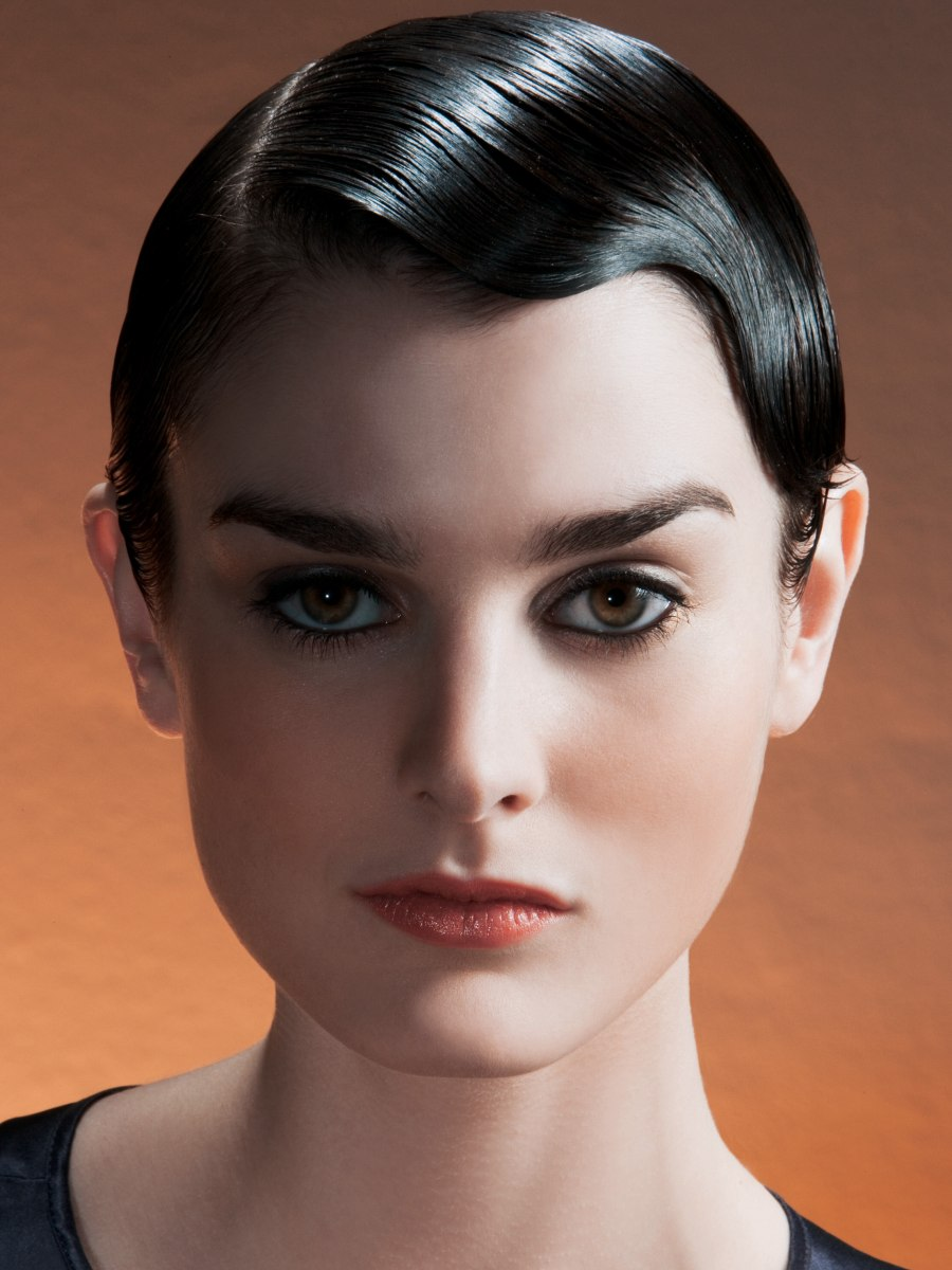 Slick Retro Glam Look For A Short Pageboy Cut Styled