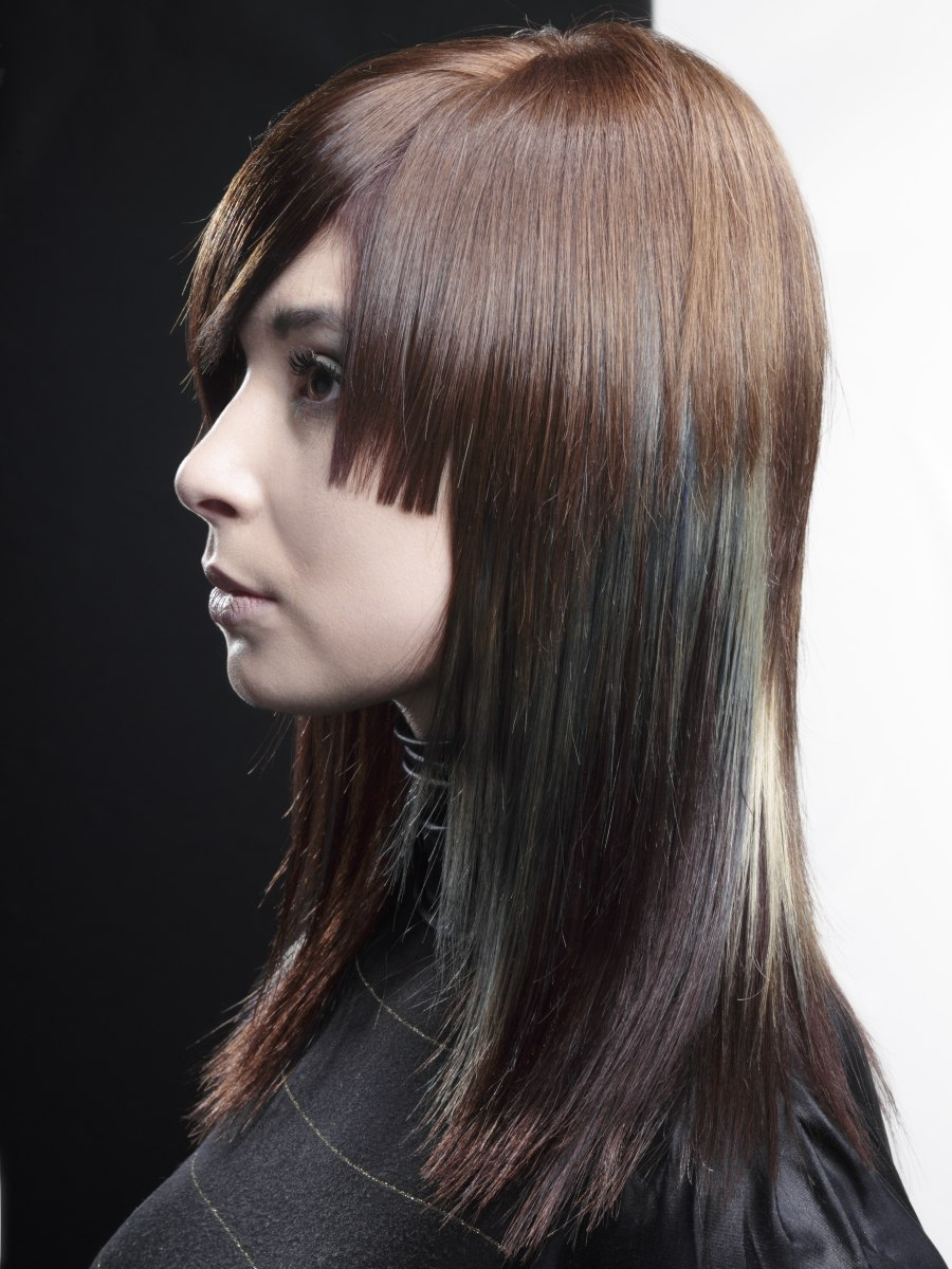 Long Hair With Layers Of Varying Lengths And Contrasting