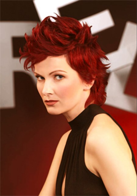 Style And Go Hairstyle With A Bi Level Cut For Wine Red Hair