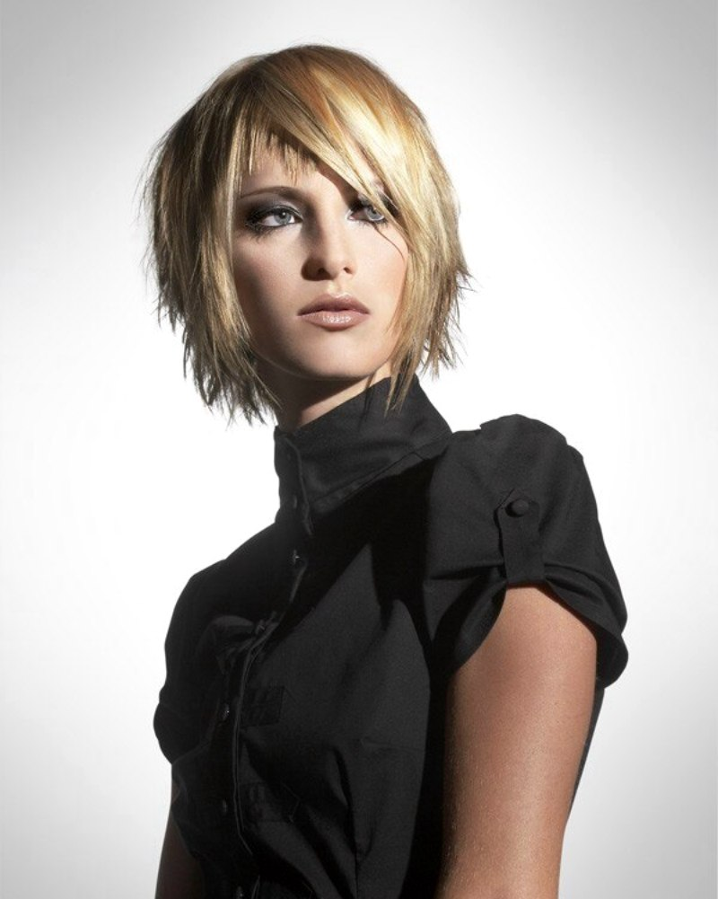 Face Framing Short Hairstyle With Layers And Diagonal Bangs