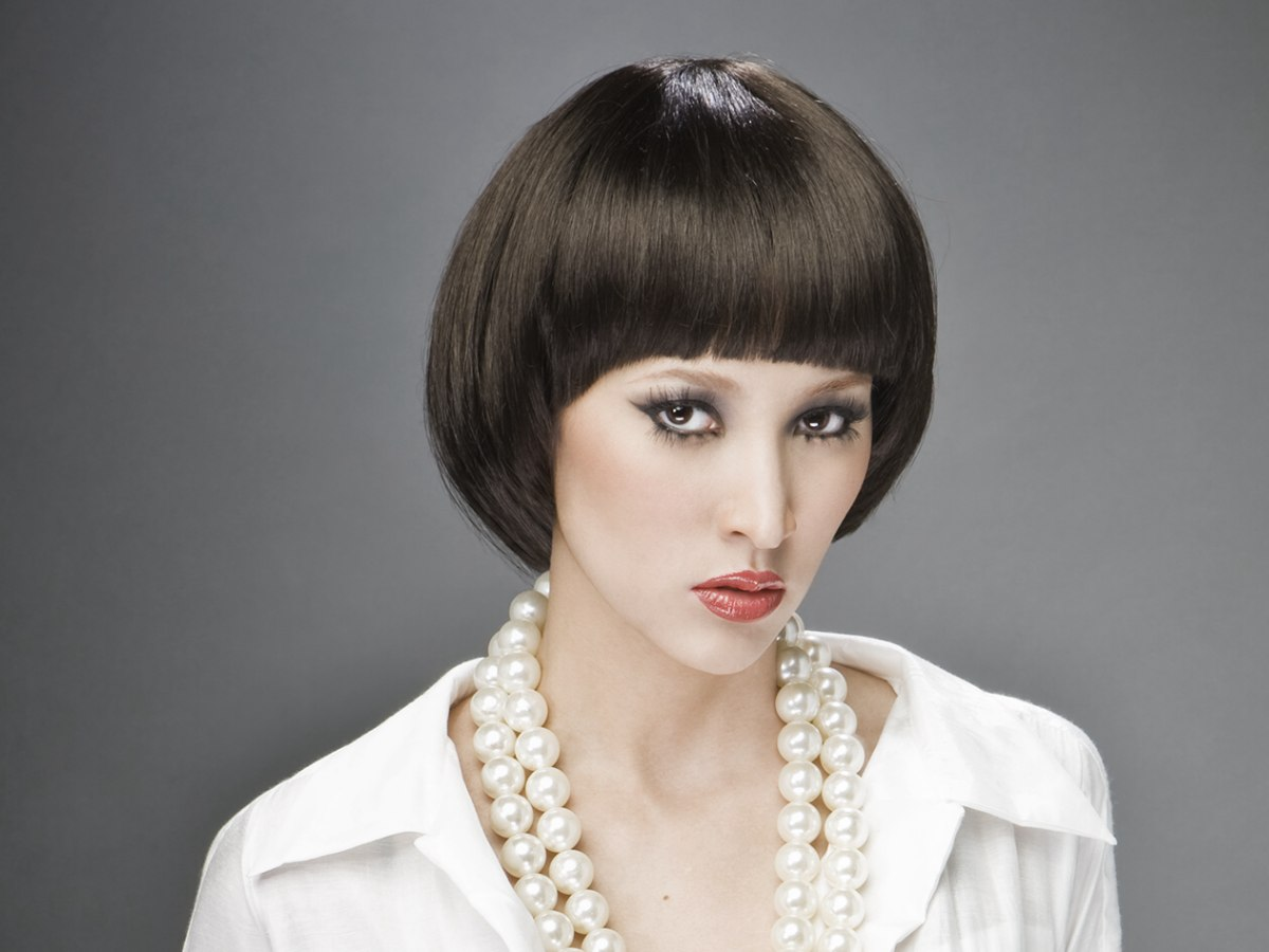 Mireille Mathieu Hairstyle With The Hair Cut In A Bowl Shape