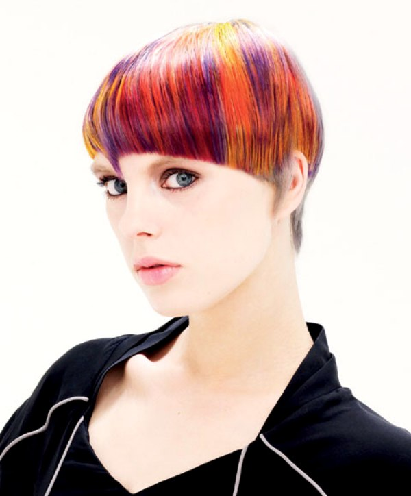 Short Hair With Purple Red And Orange Coloring