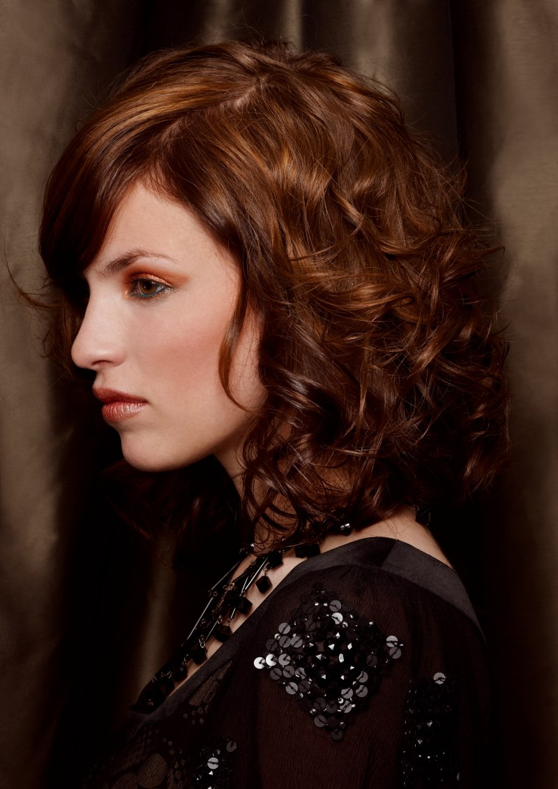 Curled Medium Long Bob With Color Transitions Side View