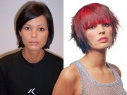 bright red bob haircut with layers