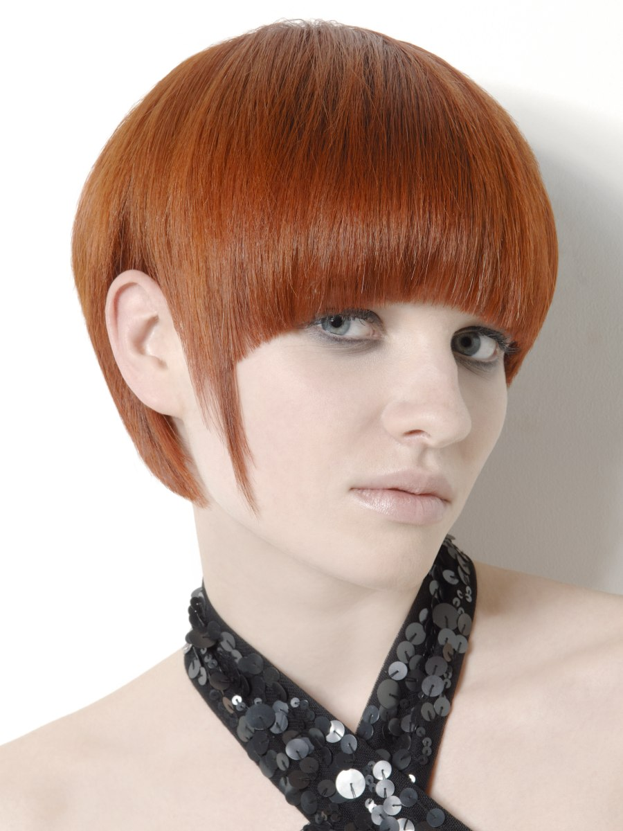 Bowl or mushroom cut with a cutout ear section
