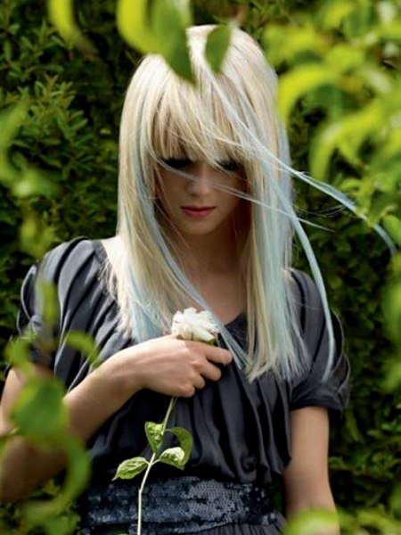 Long Blonde Hair With Blue Highlights