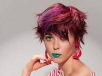 Short and spiky punk haircut with purple, pink and red colors