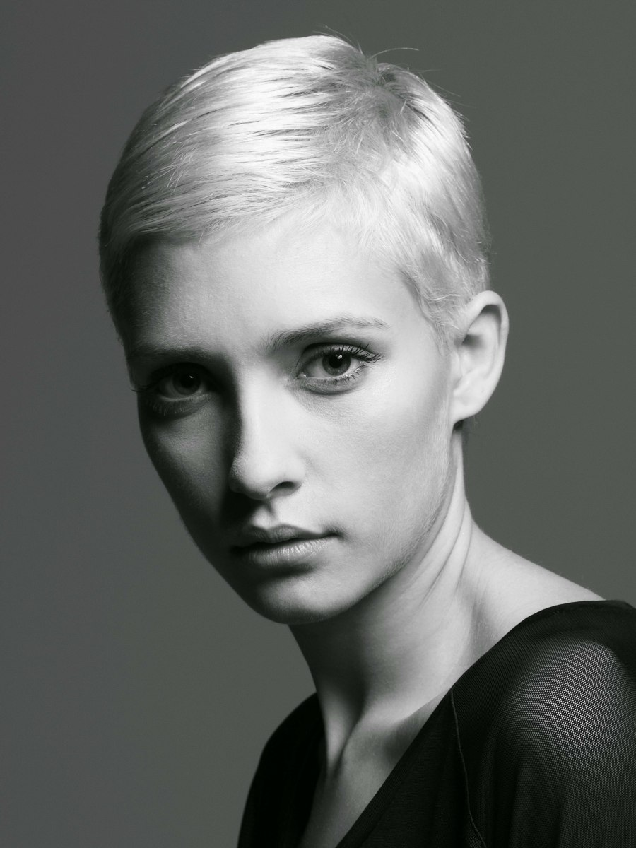Practical smooth and very short haircut to bring all of