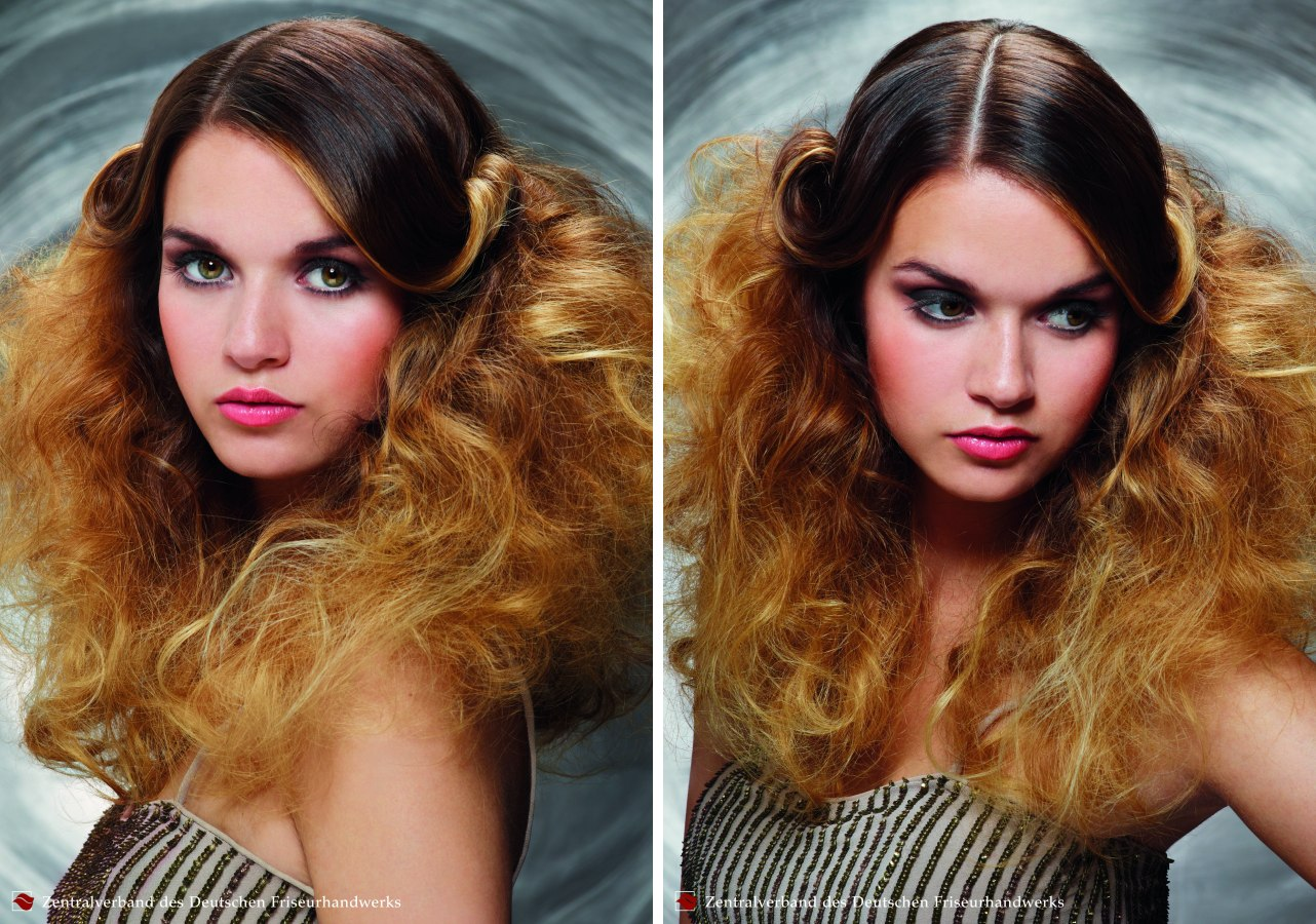 Extravagant long summer hairstyle with teased curled and mussed texture