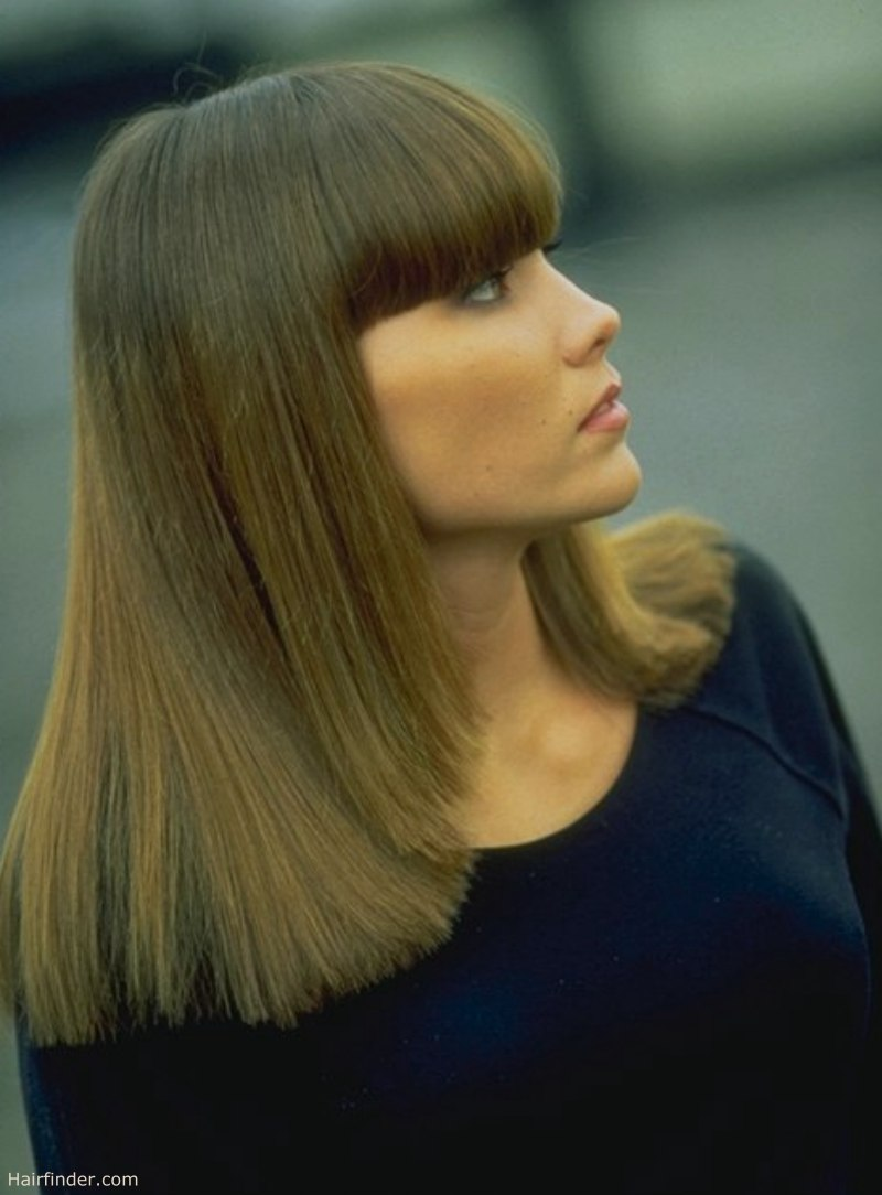 Long hairstyle with thick blunt bangs