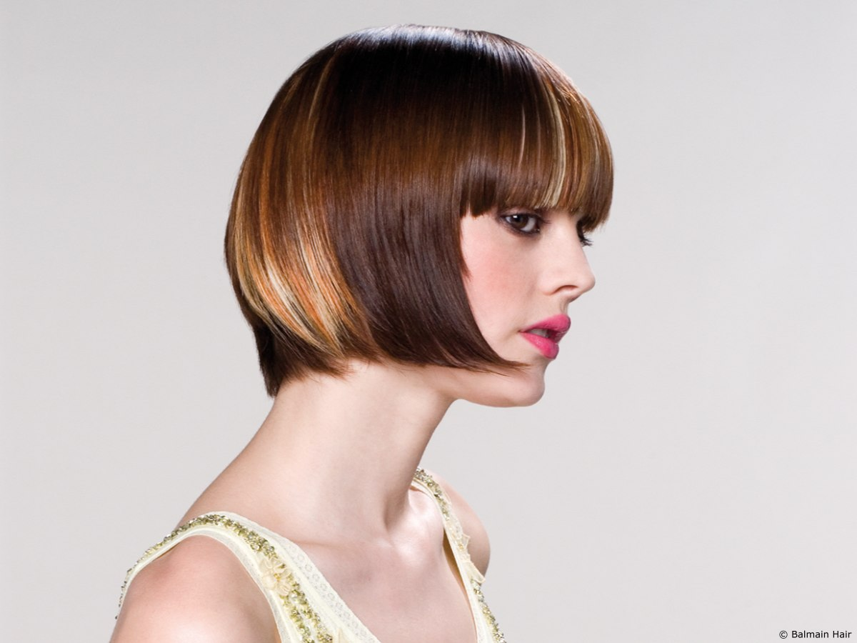 Back Angled Bob With Color Effect Hair Extensions