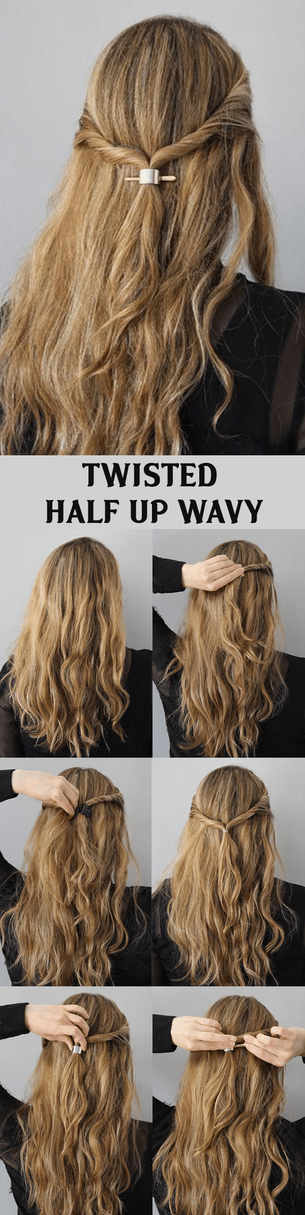 TWISTED HALF UP WAVY HAIRSTYLE