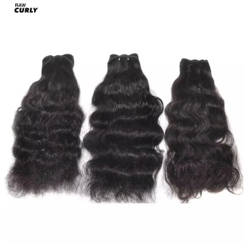 Natural South Indian Temple Hair 3 bundles of curly hair