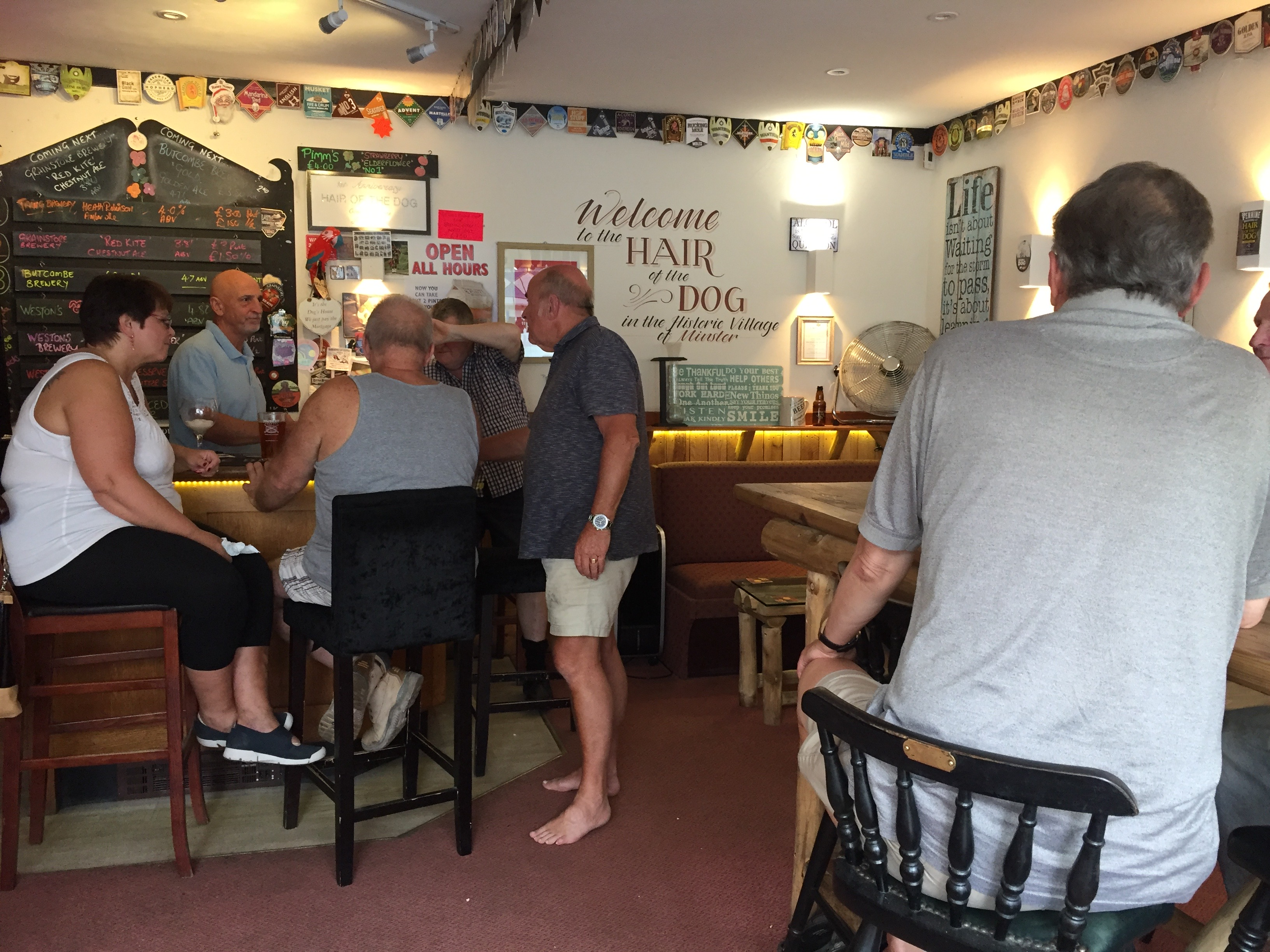 Customers enjoying the pub