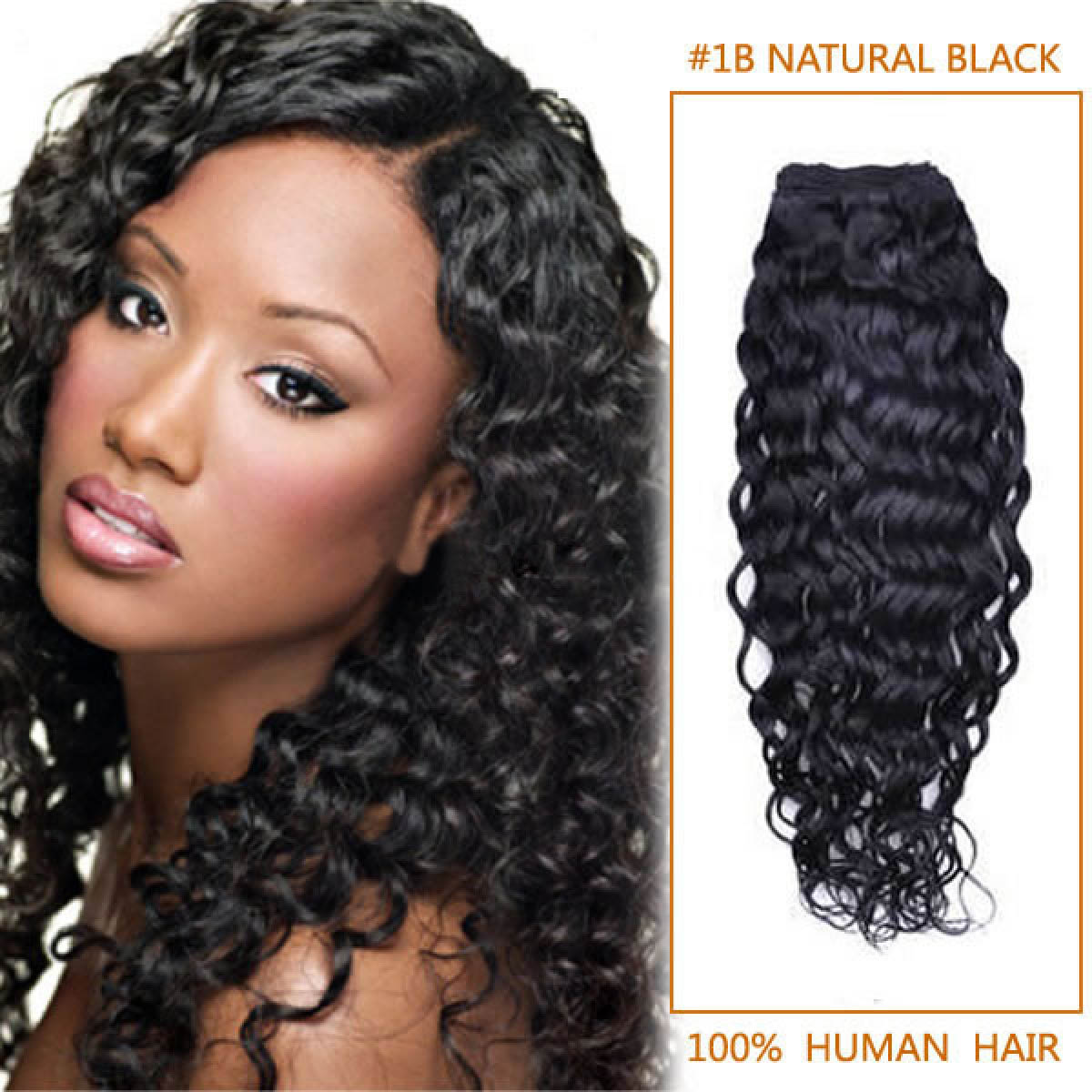 10 Inch 1b Natural Black Curly Indian Remy Hair Wefts