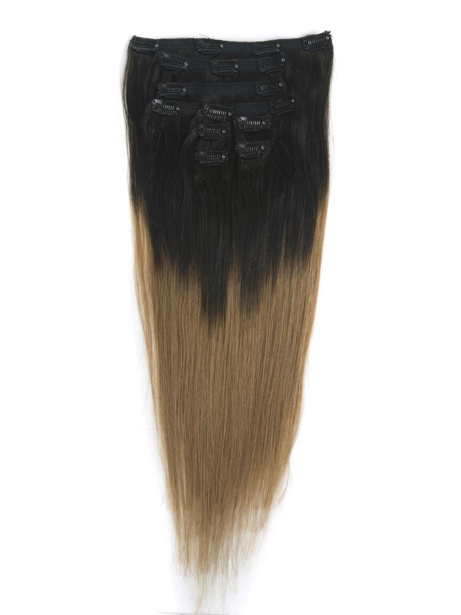 24 Inch Ash Brown And Natural Black Ombre Clip In Hair
