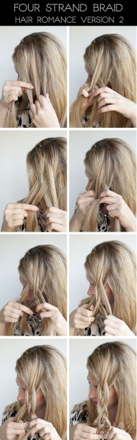 Hairstyle tutorial - four strand braids and slide up braids