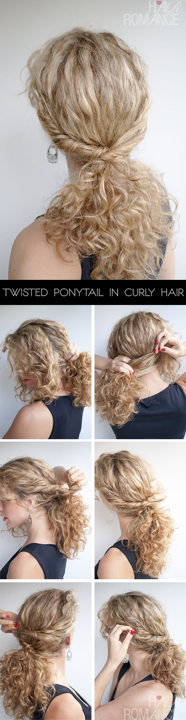 Curly Hairstyle Tutorial The Twist Over Ponytail Hair Romance