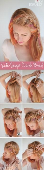 side-swept dutch braid hairstyle