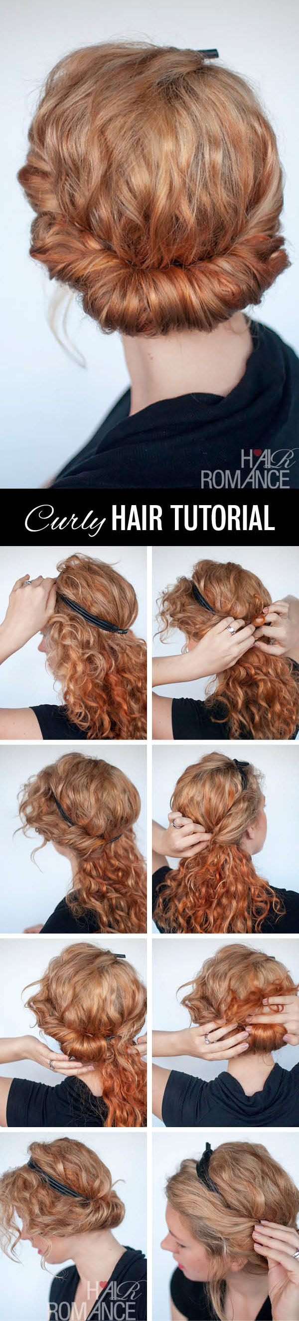 Curly Hairstyle Tutorial Rolled Headband Updo Hair Romance