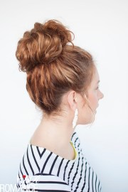 curls week - curly top knot hairstyle