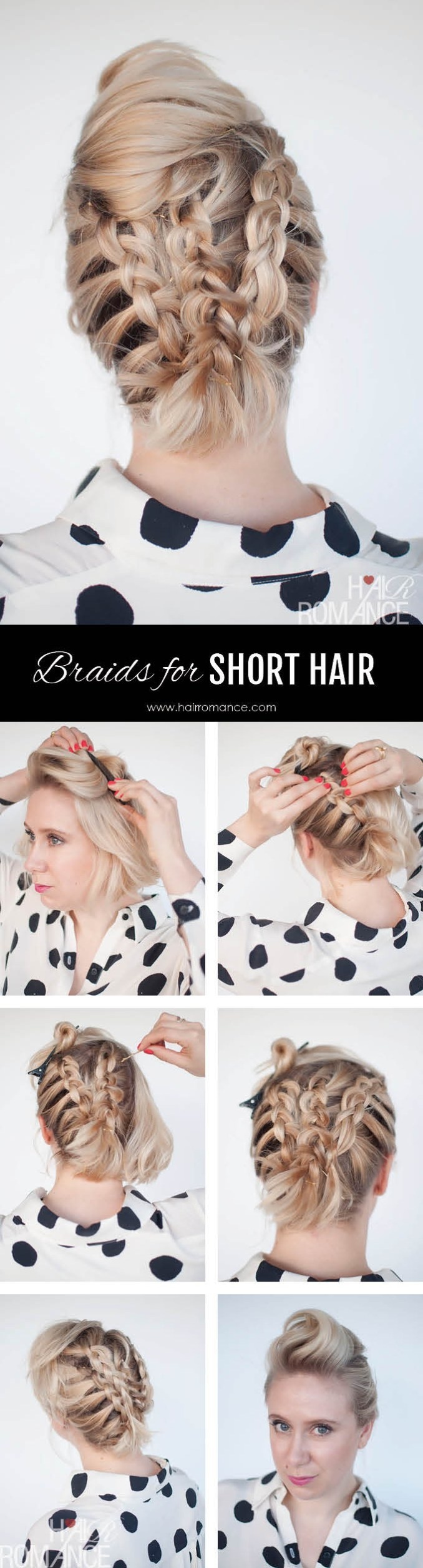 braids in short hair - short hairstyle tutorial - hair romance