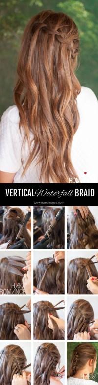 Vertical waterfall braid hairstyle tutorial | Hair Romance ...