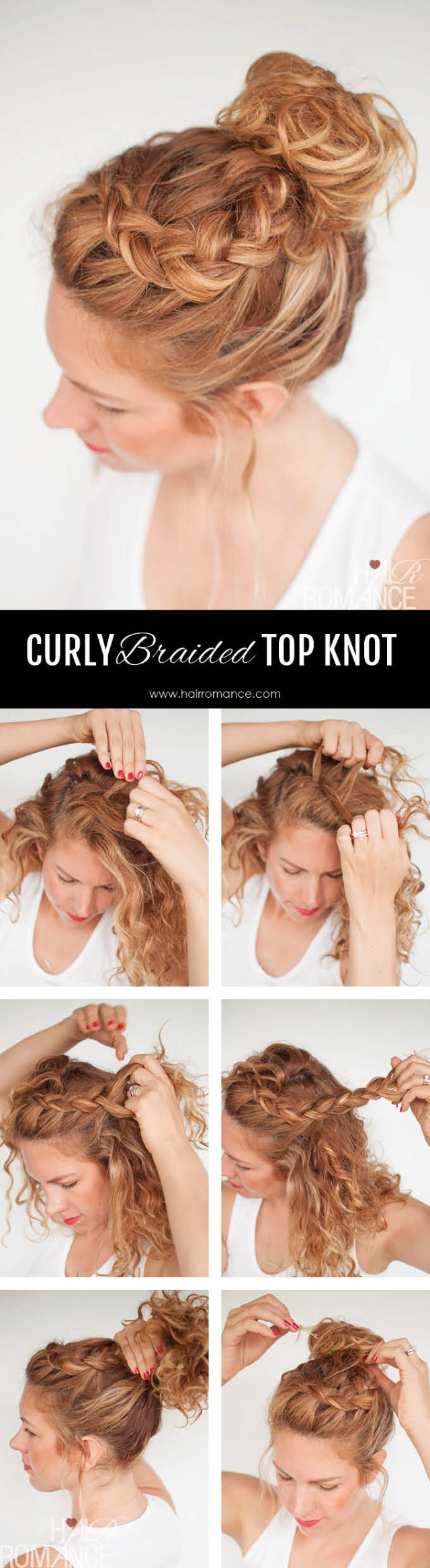 everyday curly hairstyles - curly braided top knot hairstyle