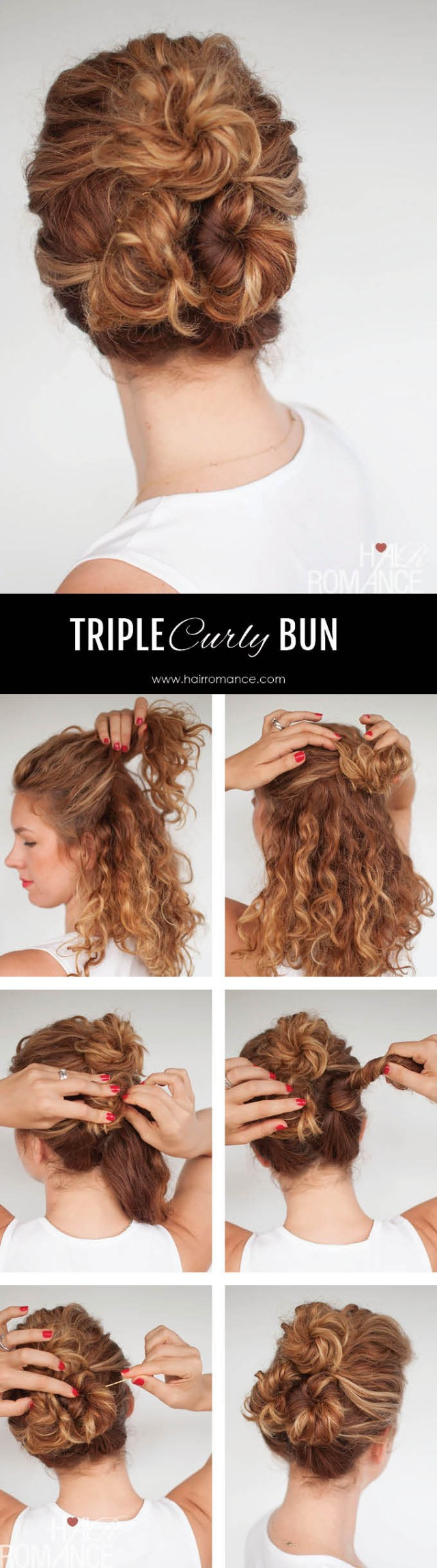 easy everyday curly hairstyle tutorials – the curly triple bun