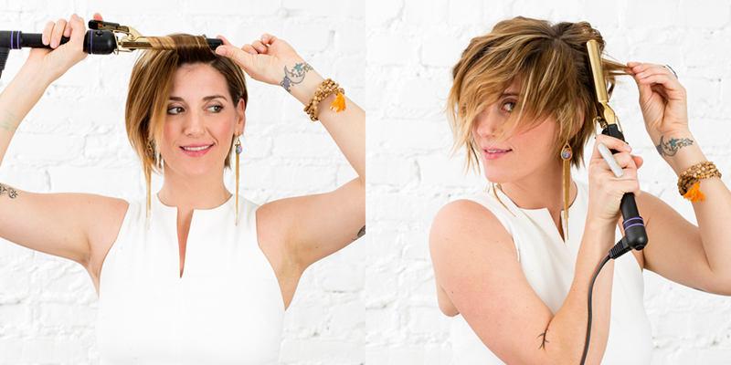 Gewusst wie kurze Haare ParteiReady locken kruseln  Keratin Behandlung Haar Gltteisen