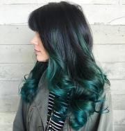 gorgeous green colored hairstyle