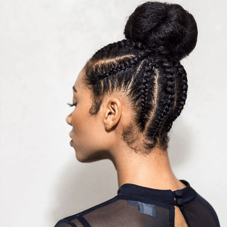Black Hairstyles Braided Into A Bun