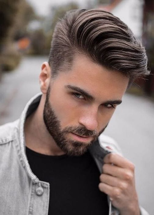 medium hair for men with denim jacket