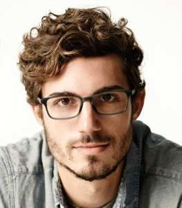 geeky look with curly hair