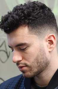 Curly Hair Fade Hairstyle for Men