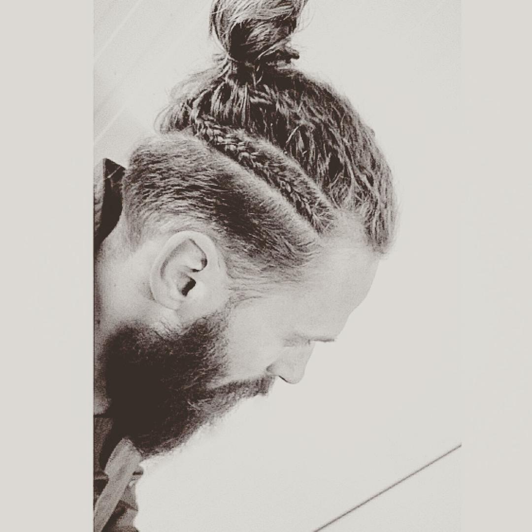 man bun and braids