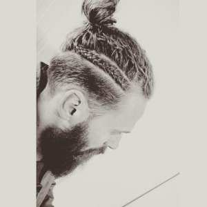man bun and braids