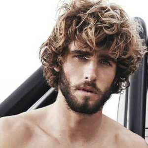 medium length curly hair men