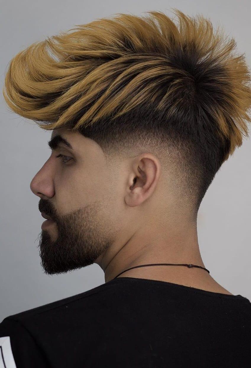 Colored Hair Fade Haircut For Boys