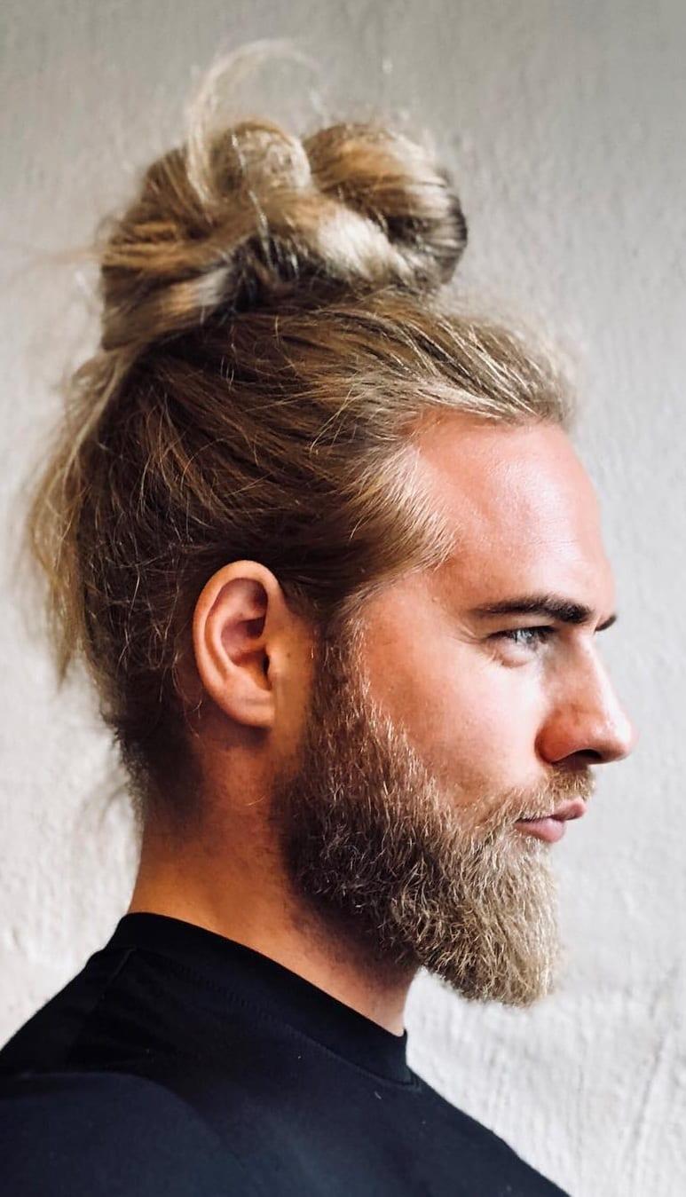 Long haircut manbun for men