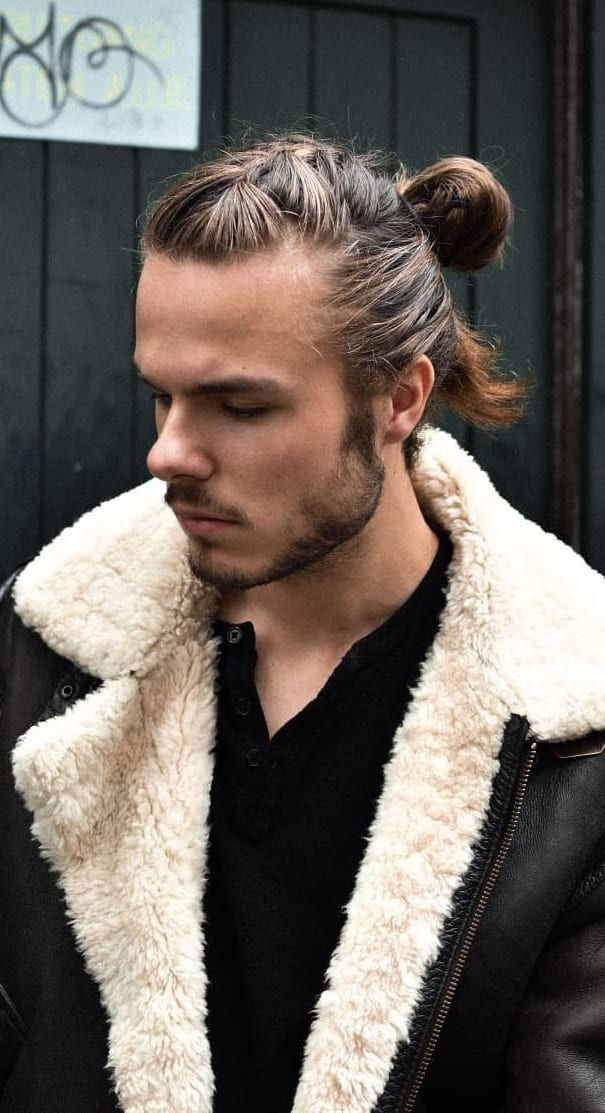 Manbun with Braid Hairstyle for Men
